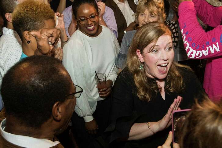 Lizzie Pannill Fletcher, the Democratic candidate for the 7th Congressional District, arrives to her election watch party after she was declared the winner on Tuesday, Nov. 6, 2018, in Houston.