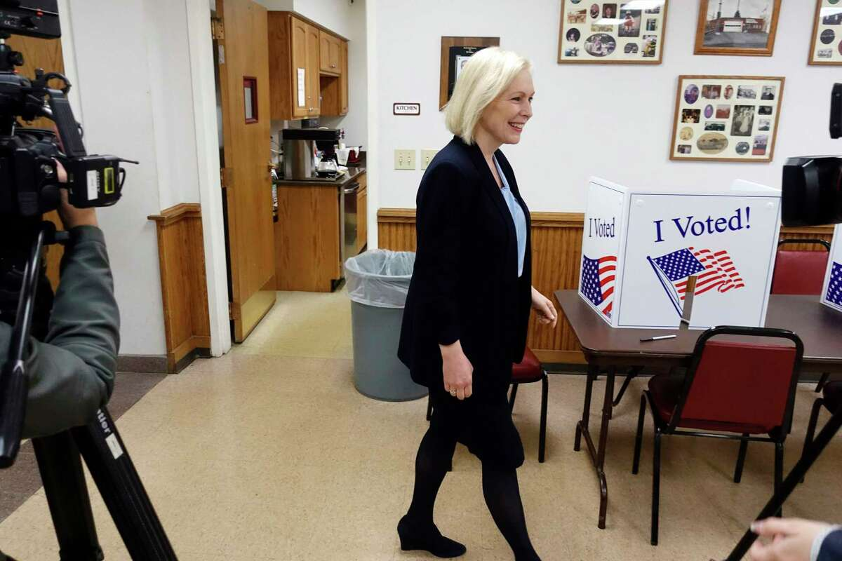 U.S. Senator Kirsten Gillibrand walks in to vote at the Brunswick Fire Co. No 1 on Tuesday, Nov. 6, 2018, in Troy, N.Y. (Paul Buckowski/Times Union)