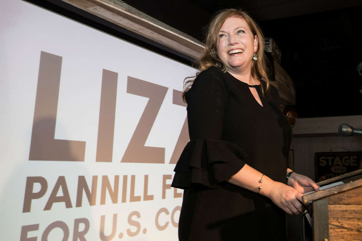 Lizzie Pannill Fletcher smiles as results are announced in her race against John Culberson for the 7th Congressional District seat in the House of Representatives on Tuesday, Nov. 6, 2018, in Houston.