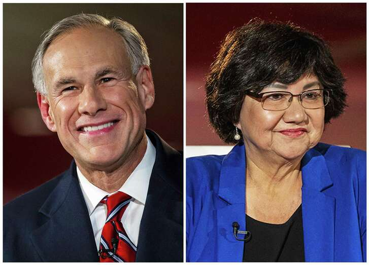 FILE - This combination of Sept. 28, 2018, file photo, shows candidates for Texas governor in the November 2018 election, from left, incumbent GOP Gov. Greg Abbott and Democrat Lupe Valdez. (Nick Wagner/Austin American-Statesman via AP, Pool, File)/Austin American-Statesman via AP, Pool)