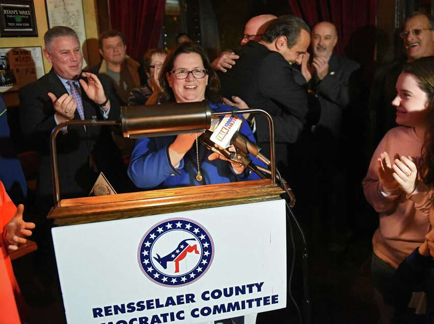 Mary Pat Donnelly, the Democratic candidate for Rensselaer County District Attorney, thanks all her supporters at Ryan's Wake where Rensselaer County Democrats were watching the results come in during election night on Tuesday, Nov. 6, 2018 in Troy, N.Y. (Lori Van Buren/Times Union)