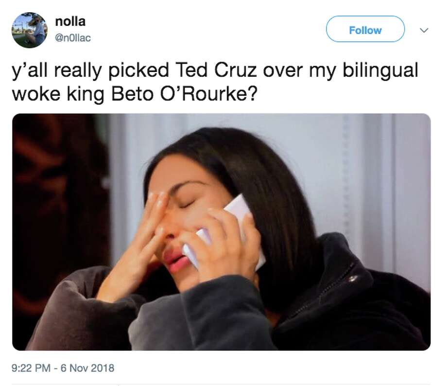 Social media responds to Republican Sen. Ted Cruz defeating Democratic challenger Beto O'Rourke in Texas. Photo: Twitter Screen Grab