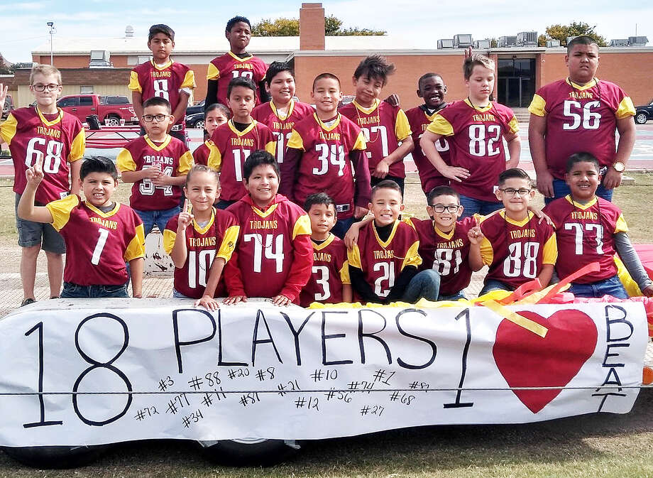 "MADE FOR MOVIES The city champion Plainview Trojans third/fourth-grade football team put together an undefeated season before losing to Dimmitt on a yardage tiebreaker during the championship game on Saturday at Greg Sherwood Memorial Bulldog Stadium in Plainview. Assistant coach Nick Hinojosa said the team's season resembled the plot of the movie, ""Little Giants."" Photo: Courtesy Of Nick Hinojosa"