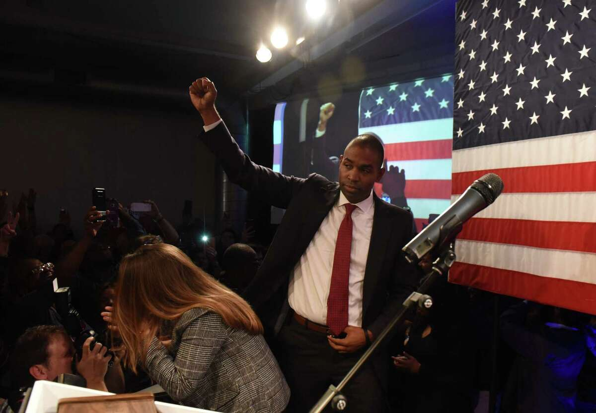 Antonio Delgado speaks to supporters after taking the 19th Congressional District seat from Republican incumbent John Faso on Tuesday, Nov. 6, 2018, in Kingston, N.Y. (Will Waldron/Times Union)