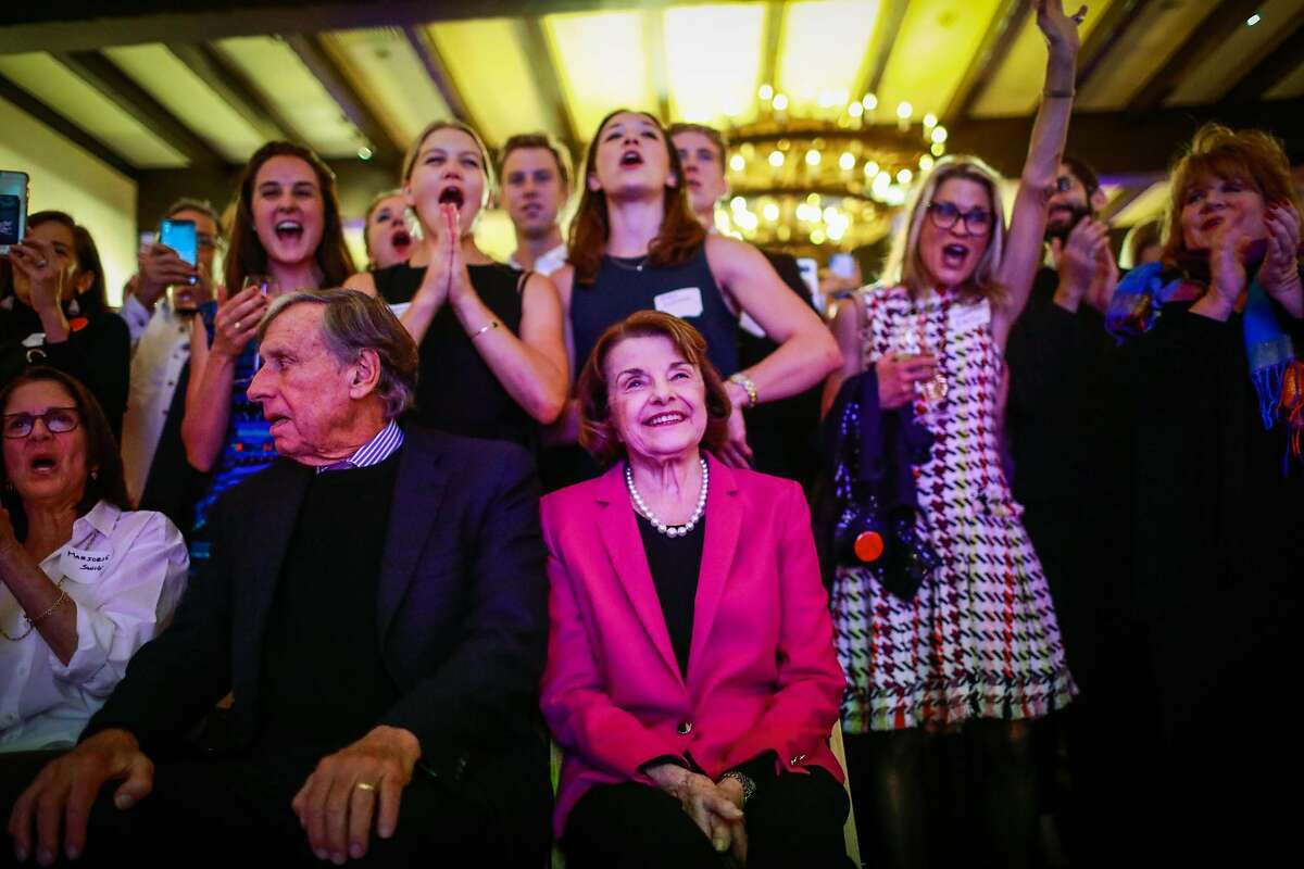 Senator Dianne Feinstein is cheered on by a crowd of supporters after being re-elected at the Presidio Officers Club in San Francisco, California, on Tuesday, Nov. 6, 2018.