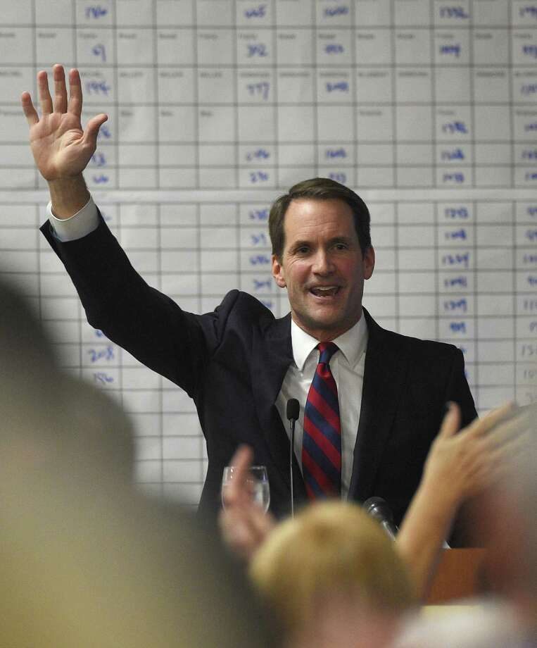 U.S. Rep. Jim Himes speaks during the Democratic Election Night Watch Party at the Sheraton Stamford Hotel in Stamford, Conn. Tuesday, Nov. 6, 2018. Incumbent Democratic U.S. Rep. Jim Himes defeated Republican challenger Harry Arora in the battle for Connecticut's Fourth Congressional District. Photo: Tyler Sizemore / Hearst Connecticut Media / Greenwich Time