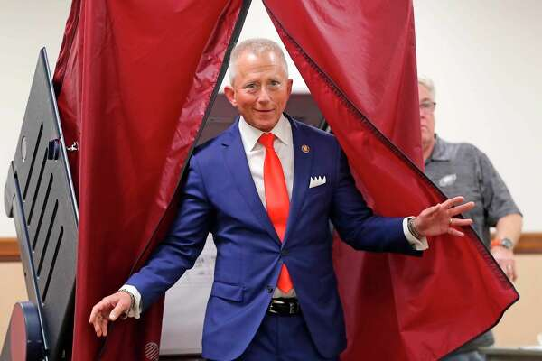 U.S. Rep. Jeff Van Drew, D-N.J., who is running against Republican candidate Seth Grossman in the 2nd Congressional District, exits a voting booth after casting his vote at the Ocean View Firehouse, Tuesday, Nov. 6, 2018, in Dennis Township, N.J. (Craig Matthews/The Press of Atlantic City via AP)