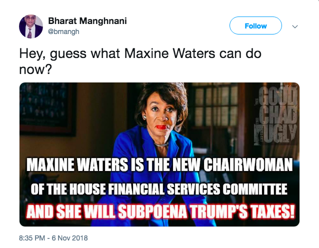 Maxine Waters is set to take leadership position, could subpoena Trump's tax returns