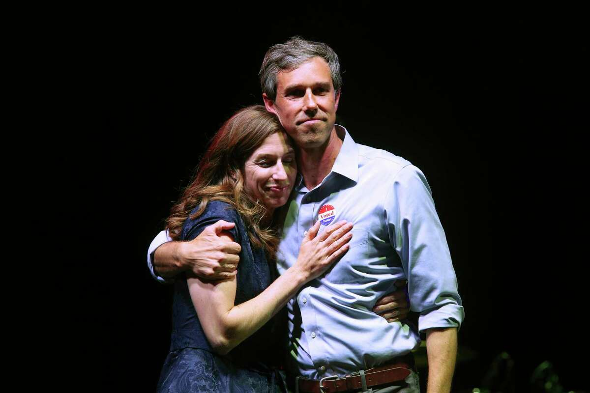Beto O'Rourke is joined by his wife, Amy Sanders, after conceded the race during a rally at Southwest University Park in El Paso, Texas, Tuesday, November 6, 2018. O'Rourke lost to imcumbent U.S. Sen. Ted Cruz.