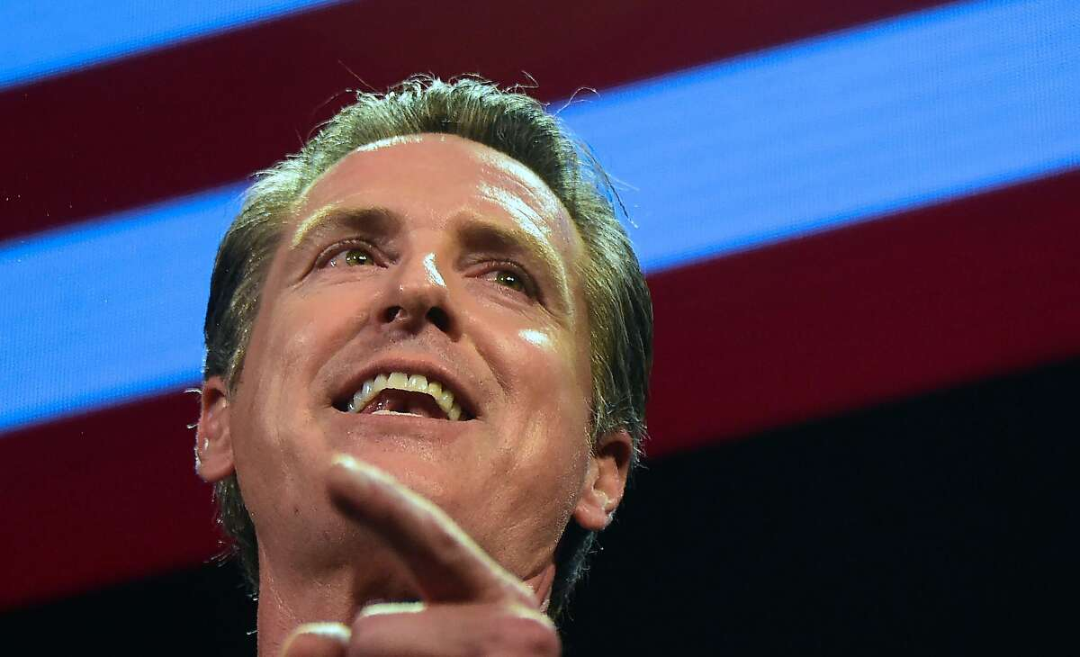 California's Democratic gubernatorial candidate Gavin Newsom speaks onstage at his election night watch party in Los Angeles, California on November 6, 2018. - Gavin Newsom defeated his Republican opponent John Cox to become the next Governor of California. (Photo by Frederic J. BROWN / AFP)FREDERIC J. BROWN/AFP/Getty Images