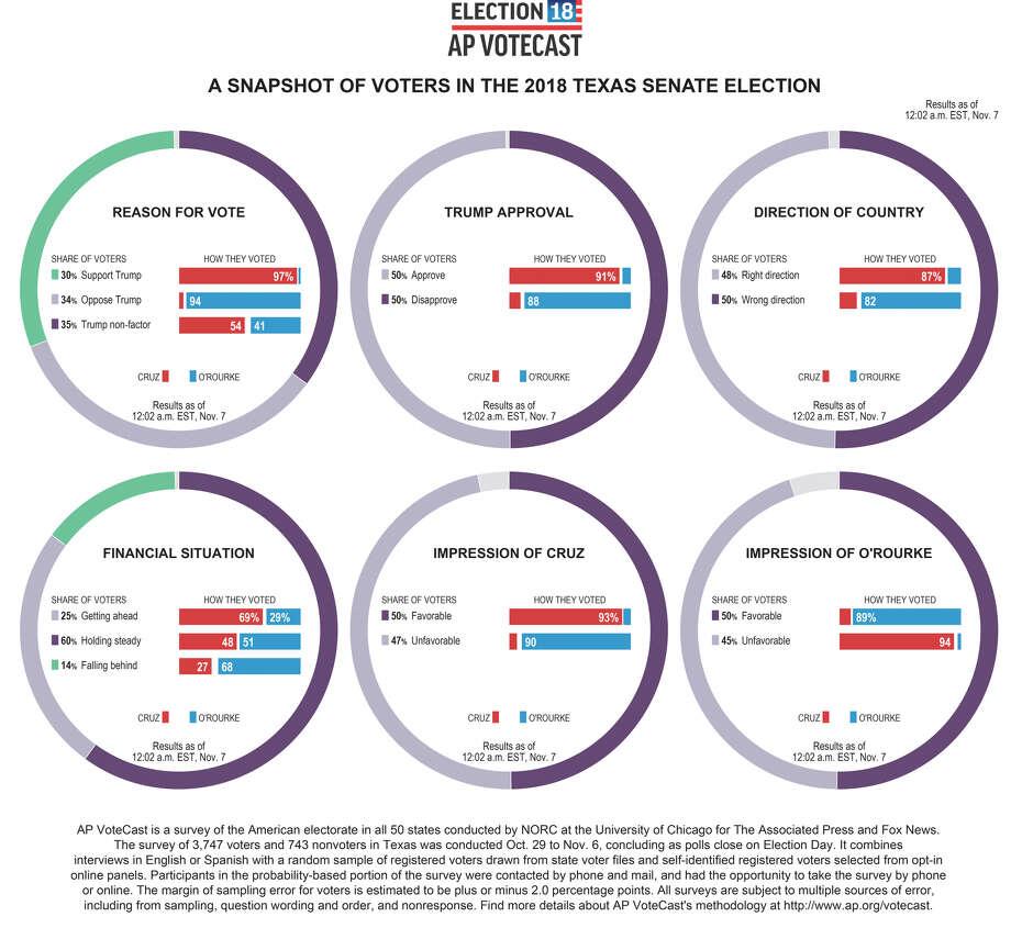 Exit polls data shows a snapshot of the Texas Senate race. Photo: Associated Press
