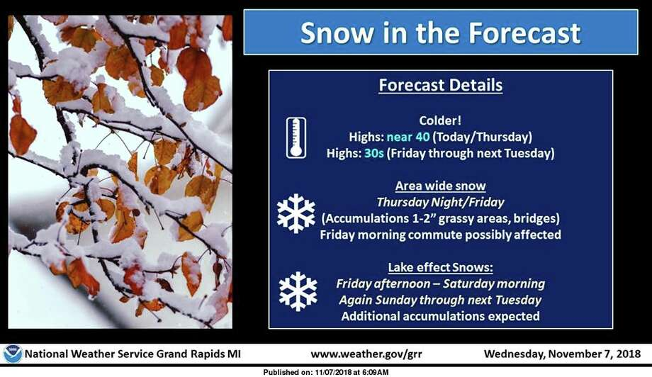 Colder air will remain in place for the next 7 days. There will be chances for snow almost each day moving forward. An area wide snow will spread into the region late Thursday night and last into Friday. This snow will be associated with a low pressure system moving into the Eastern Great Lakes. Lake effect snows will then kick in Friday afternoon and last into Saturday. Additional lake effect snows are expected Sunday through next Tuesday. The Friday morning commute may be affected by the new snow (on the order of 1-2 inches) especially on grassy areas and bridges. Additional accumulations are expected across Western and Central Lower Michigan from the lake effect snow this weekend and early next week. Highs will largely stay in the 30s the next 7 days. Photo: National Weather Service Grand Rapids