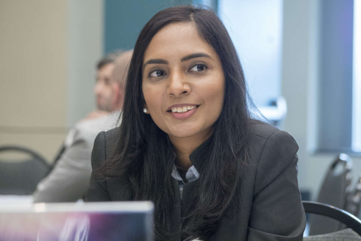 Smriti Zaneveld, director of research and co-founder of Lazarus 3D, during round table discussions with NASA and industry leaders at the iTech Cycle III Forum in Hartford, Conn. As NASA seeks technology to go to the moons and Mars, look back on candid photos from the Apollo programs. Keep going.