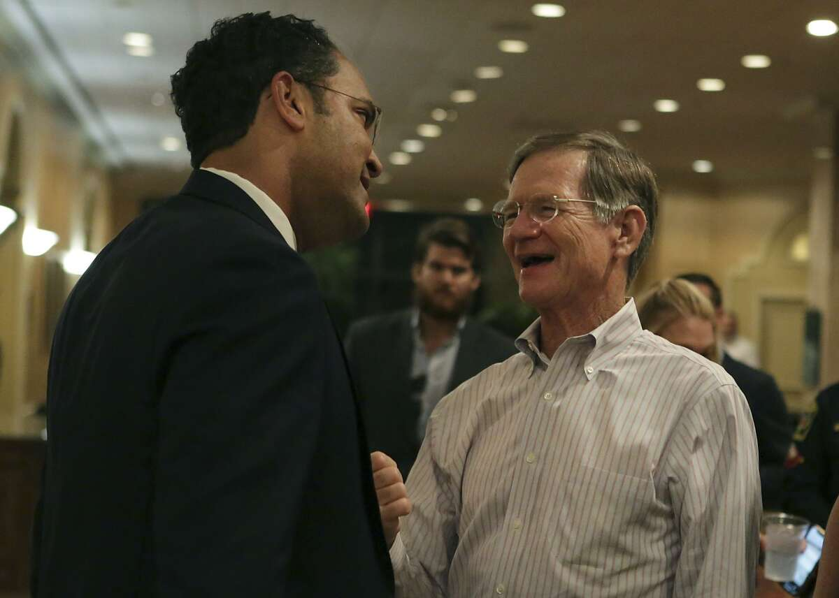 Representative Will Hurd (TX-23) , left, talks to Lamar Smith befor talking to a gathering of supporters at the Omni San Antonio Hotel at the Colonnade in San Antonio after winning his race, on Tuesday, Nov. 6, 2018.