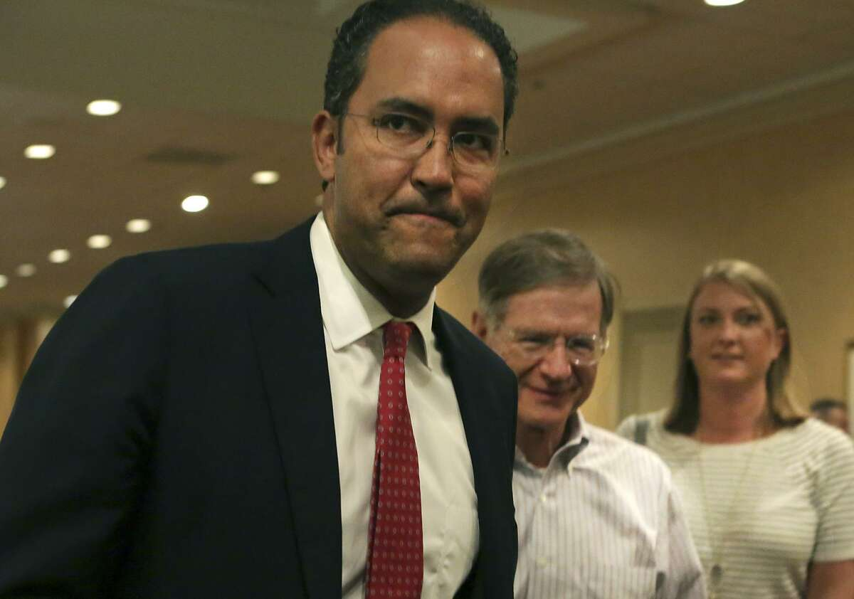 Representative Will Hurd (TX-23) goes to talk to supporters after meating with Lamar Smith, gathering at the Omni San Antonio Hotel at the Colonnade in San Antonio after winning his race, on Tuesday, Nov. 6, 2018.