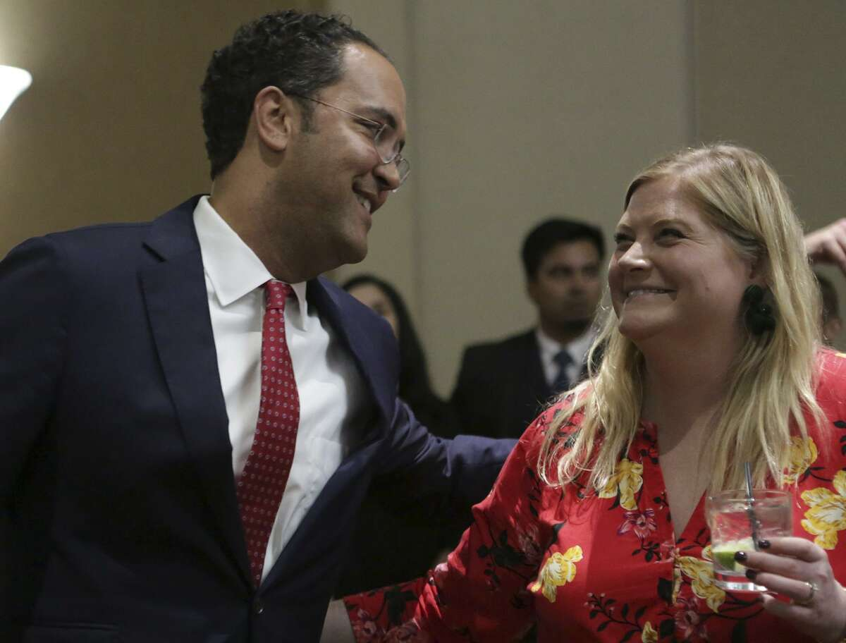 Representative Will Hurd (TX-23) greets Nancy Pack as he talks to supporters gathering at the Omni San Antonio Hotel at the Colonnade in San Antonio after winning his race, on Tuesday, Nov. 6, 2018.