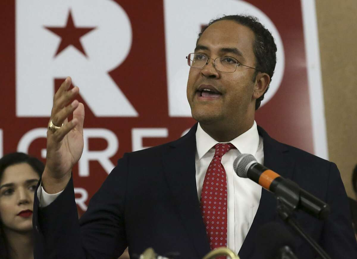 Representative Will Hurd (TX-23) talks to supporters gathering at the Omni San Antonio Hotel at the Colonnade in San Antonio after winning his race, on Tuesday, Nov. 6, 2018.