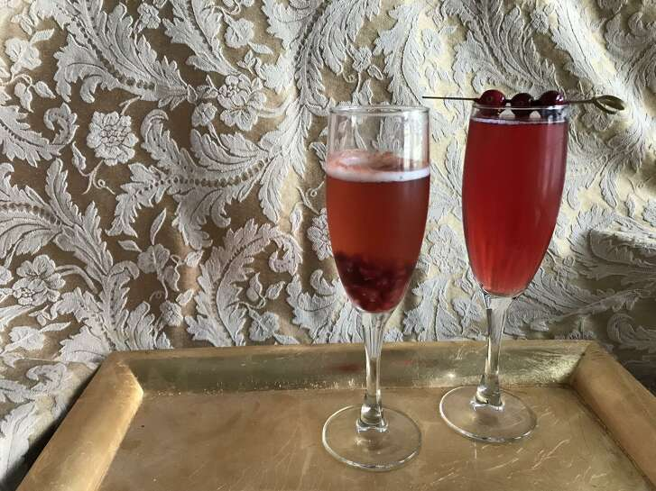 The Pomegranate Mimosa, left, and the Cider Harvest