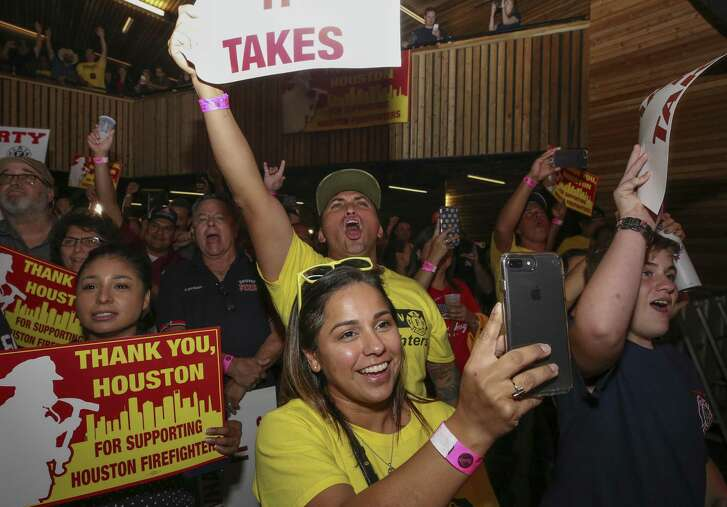 Prop B supporters cheer as the proposition passed during a watch party at the White Oak Music Hall Tuesday, Nov. 6, 2018, in Houston.