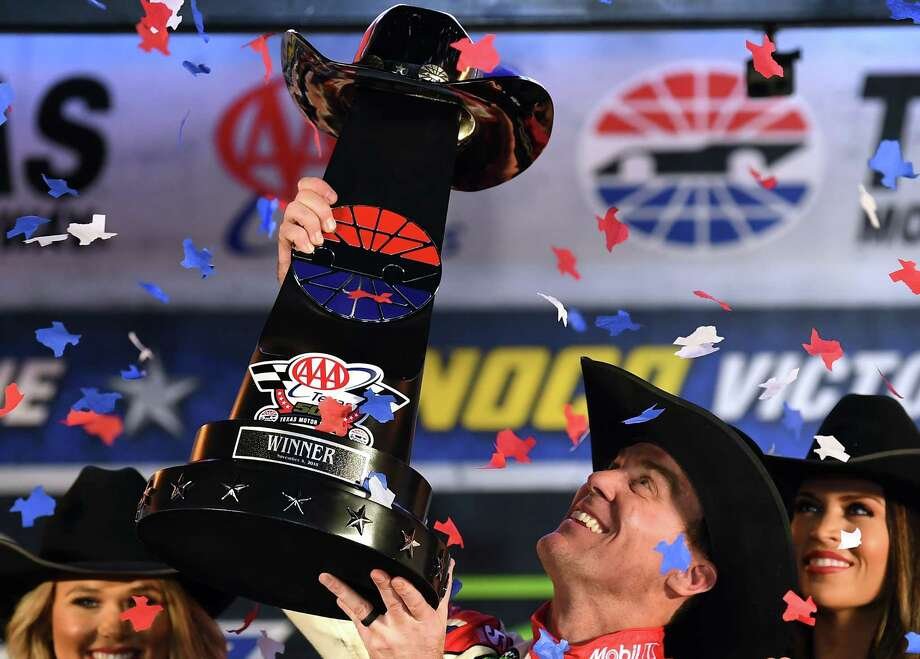 FORT WORTH, TX - NOVEMBER 04:  Kevin Harvick, driver of the #4 Mobil 1 Ford, celebrates in victory lane after winning the Monster Energy NASCAR Cup Series AAA Texas 500 at Texas Motor Speedway on November 4, 2018 in Fort Worth, Texas. Photo: Josh Hedges, Getty Images / 2018 Getty Images