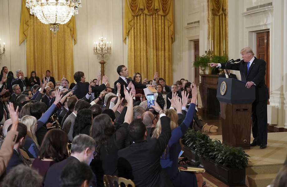 US President Donald Trump points to journalist Jim Acosta(CenterL) from CNN during a post-election press conference in the East Room of the White House in Washington, DC on November 7, 2018. (Photo by Mandel NGAN / AFP)MANDEL NGAN/AFP/Getty Images Photo: MANDEL NGAN, AFP/Getty Images