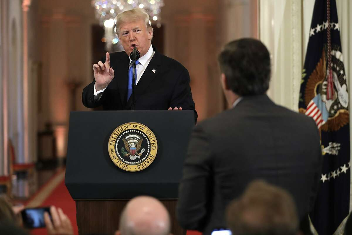 President Donald Trump speaks with CNN White House correspondent Jim Acosta during a news conference in the East Room of the White House on Nov. 7, 2018.