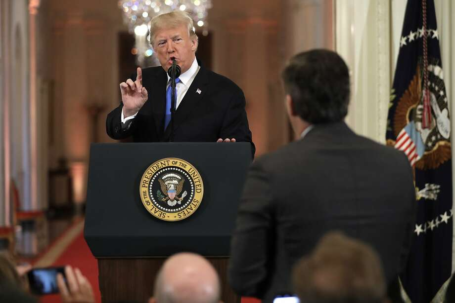 President Donald Trump speaks with CNN White House correspondent Jim Acosta during a news conference in the East Room of the White House on Nov. 7, 2018. Photo: Evan Vucci, Associated Press