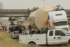 A truck carrying an oversize load struck the overpass of west I-20 and south Loop 250 11/07/18 early afternoon causing the closure of the overpass and part of I-20. Tim Fischer/Reporter-Telegram