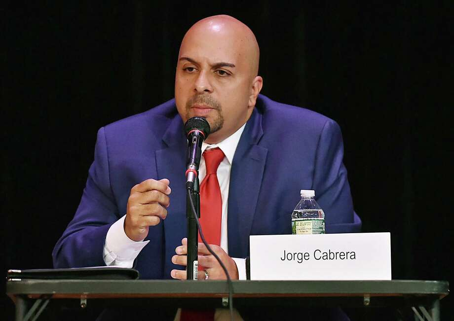 Hamden Democrat Jorge Cabrera speaks at the candidate debate for the CT Senate District 17 sponsored by the League of Women Voters of Hamden-North Haven Wednesday, October 23, 2018, at the Thorton Wilder Auditorium at the Miller Cultural Complex at 2901 Dixwell Ave. in Hamden. The 17th senatorial district which includes Ansonia, Beacon Falls, Derby, Naugatuck, Bethany, Woodbridge and Hamden. Photo: Catherine Avalone / Hearst Connecticut Media / New Haven Register