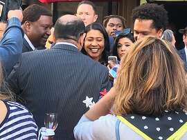 San Francisco Mayor London Breed in Election Day crowd at John's Grill