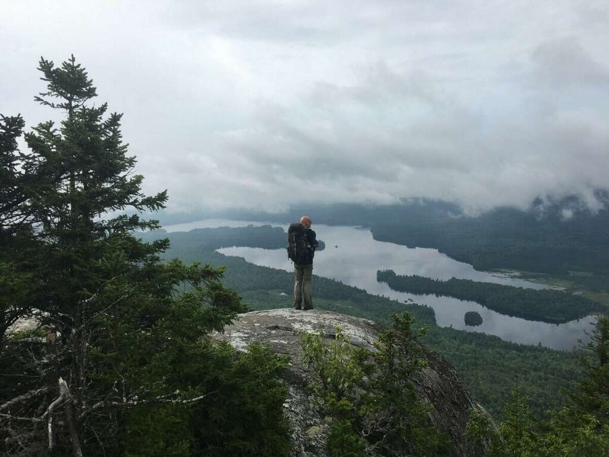 Appalachian Trail hiker Carl Sevier on the first day of his hike through the Hundred Mile Wilderness in Maine.