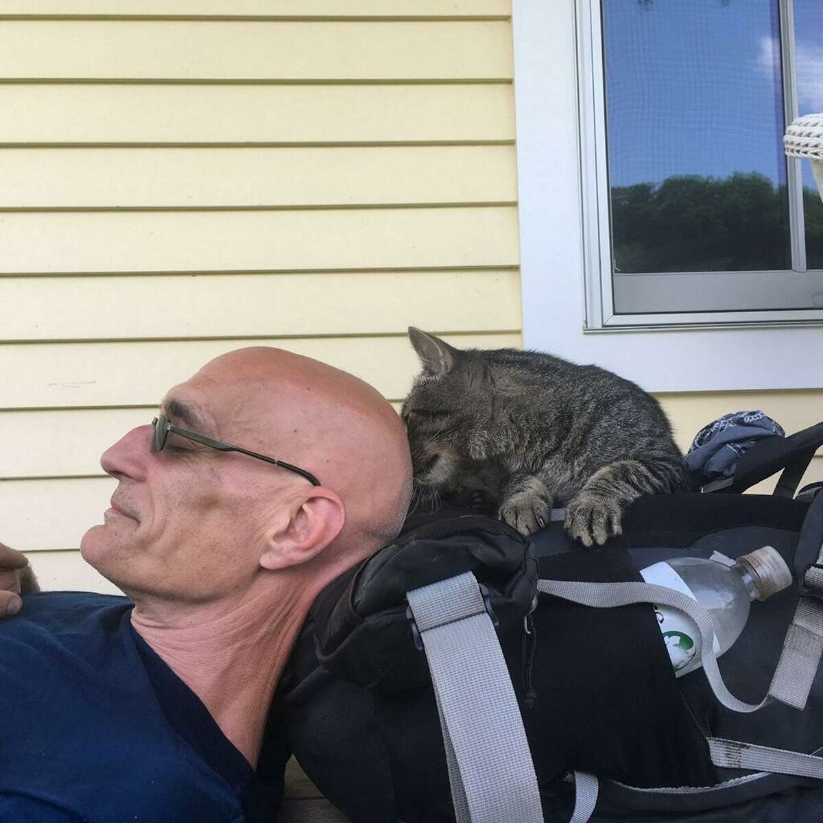 Carl Sevier stops for a quick cat nap this summer along the Appalachian Trail.