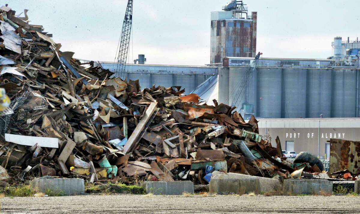 Scrap metal piled up at the Port of Rensselaer across from the Port of Albany Wednesday Nov. 7, 2018 in Rensselaer, NY. (John Carl D'Annibale/Times Union)