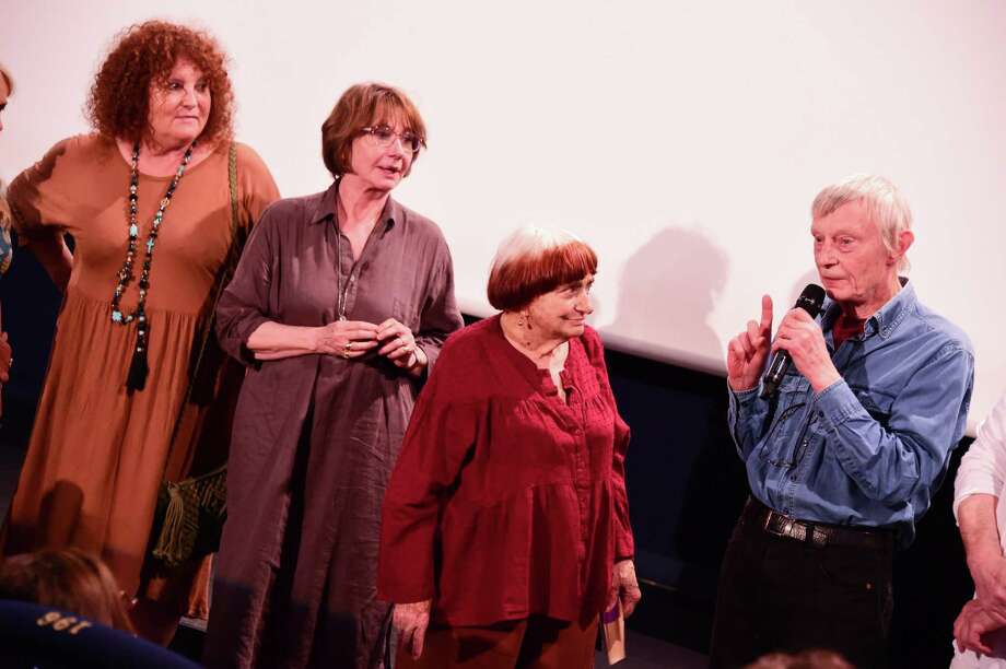 "Valérie Mairesse, Thérèse Liotard, Agnes Varda and Charlie Van Damme at the premiere of the newly restored 1977 film ""One Sings, The Other Doesn't"" in Paris last July. Photo: Anthony Ghnassia / Getty Images / Contributed Photo / 2018 Getty Images for Kering"