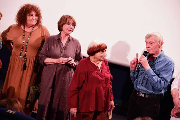 "Valérie Mairesse, Thérèse Liotard, Agnes Varda and Charlie Van Damme at the premiere of the newly restored 1977 film ""One Sings, The Other Doesn't"" in Paris last July."