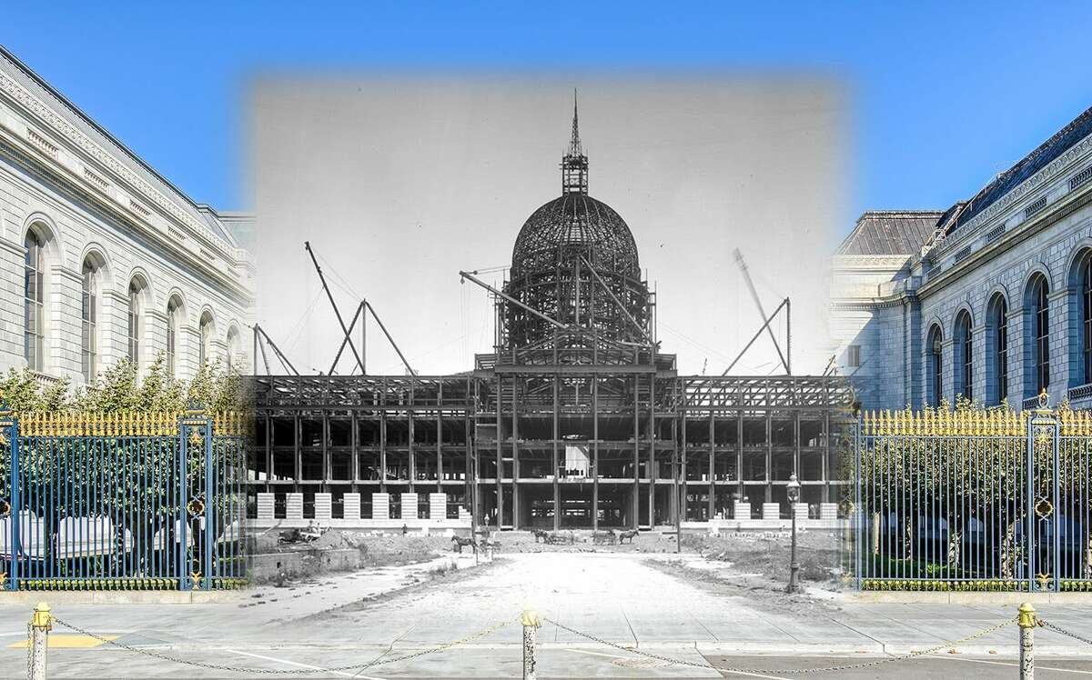 City Hall as seen during construction in this 1913 file image before its completion in 1916. Historic photo by OpenSF History.