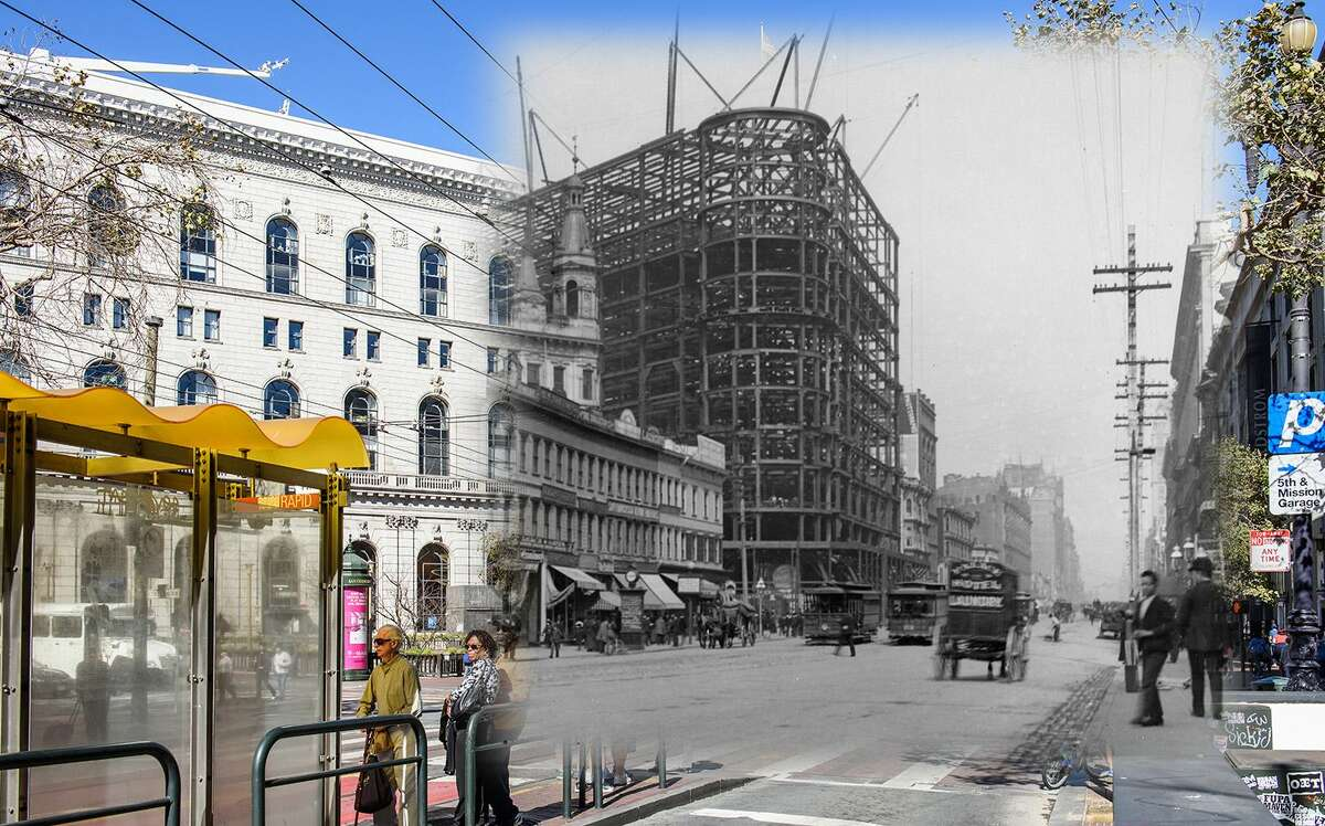 The Flood Building can be seen in this 1904 file image during construction. The building was also completed that same year and it was considered the largest SF building of the time. Historic photo bySan Francisco History Center, San Francisco Public Library.