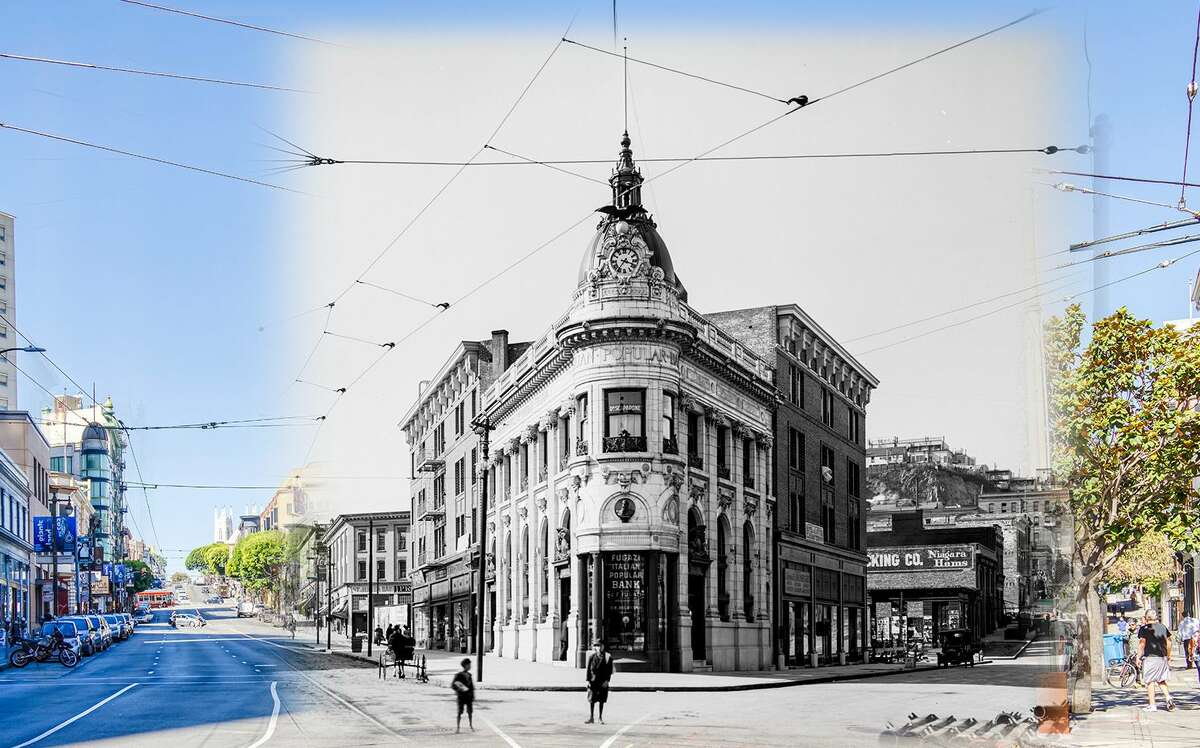 A view of the Transamerica Building as seen in 1911 in theJackson Square Historic District. The site is located adjacent to the Transamerica Pyramid, which was constructed in 1972. Historic photo byOpenSF History.