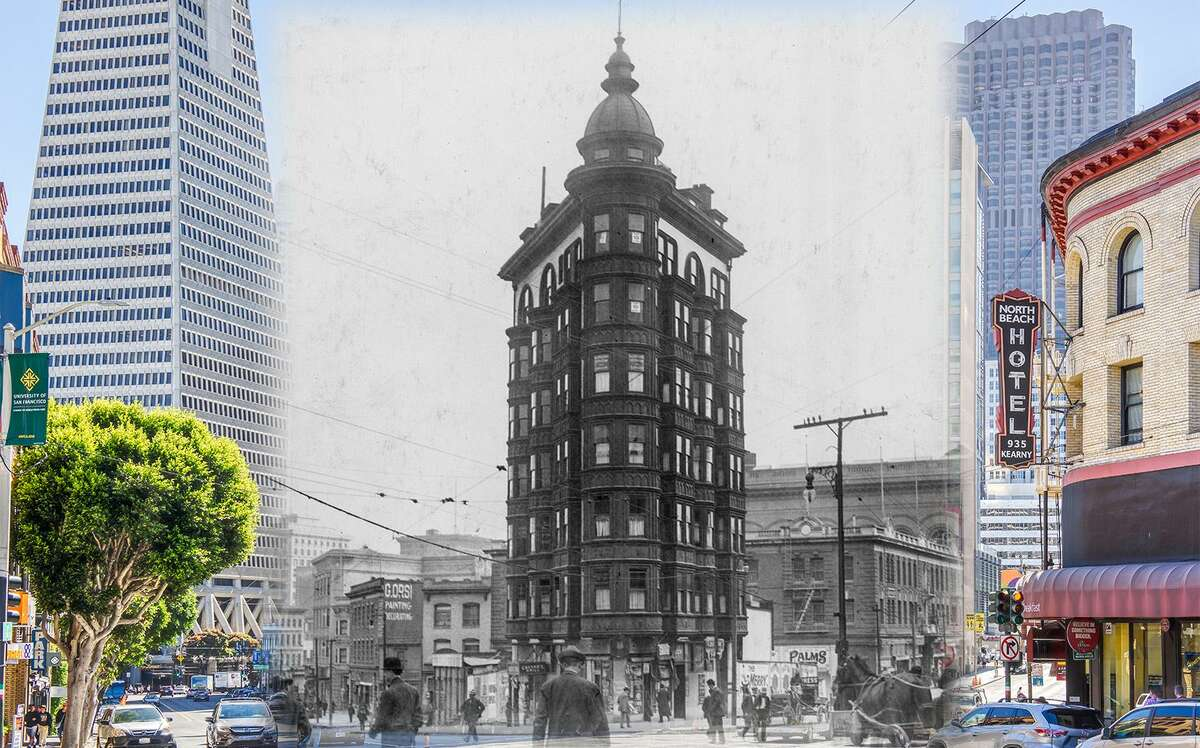 A view of Columbus Tower, also known as the Sentinel Building, in this 1915 photo. The building was completed in 1907. Historic photo byOpenSF History.