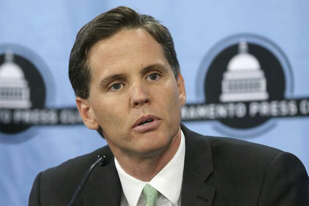 FILE - In this Tuesday, Sept. 11, 2018 file photo, Marshall Tuck, a former charter schools executive who is a candidate for Superintendent of Public Instruction, appears at a candidates debate hosted by the Sacramento Press Club in Sacramento, Calif. Tuck is running against Assemblyman Tony Thurmond, D-Richmond. (AP Photo/Rich Pedroncelli, File)