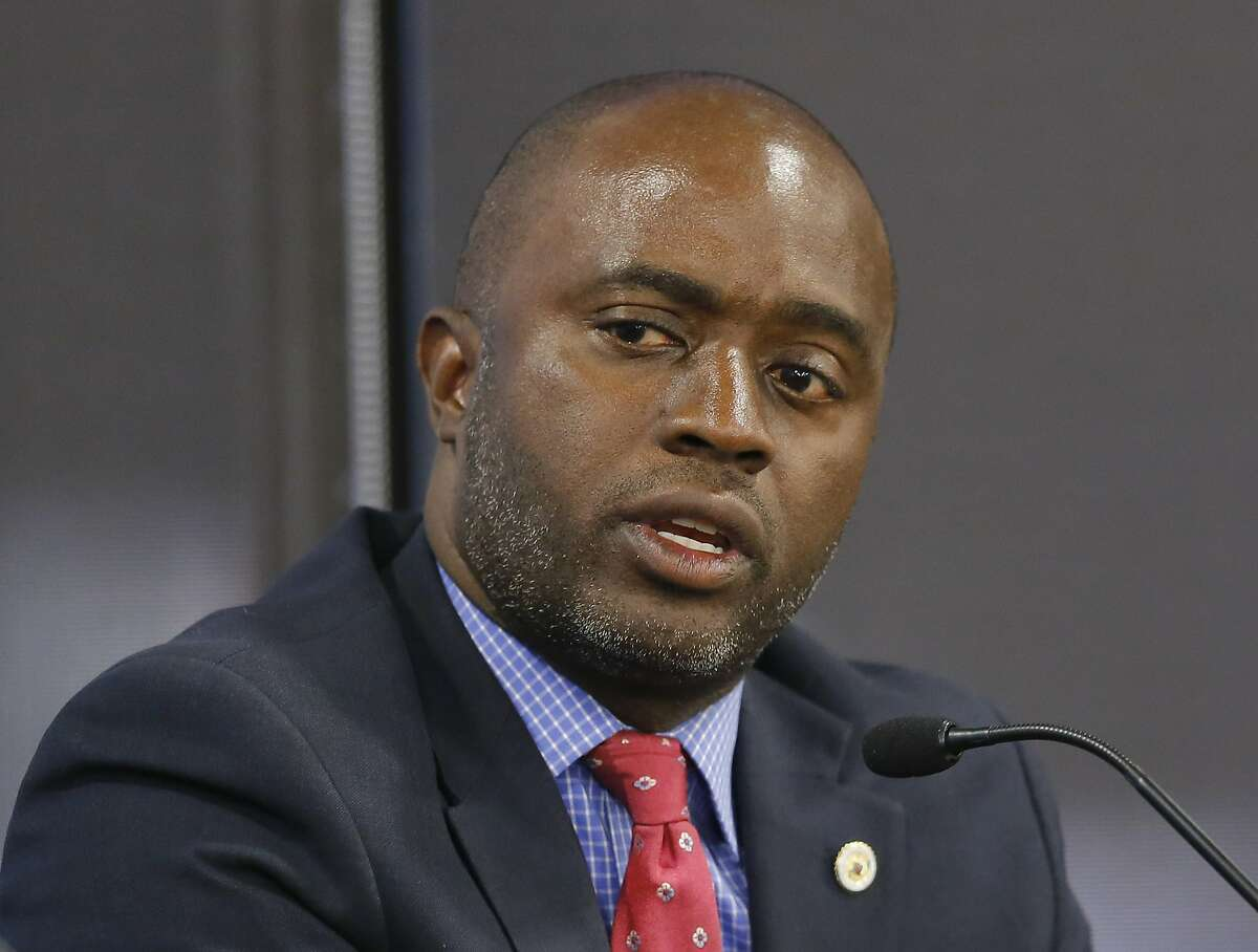 FILE - In this Tuesday, Sept. 11, 2018 photo, Assemblyman Tony Thurmond, D-Richmond, a candidate for Superintendent of Public Instruction, appears at a candidates debate hosted by the Sacramento Press Club in Sacramento, Calif. Thurmond is running against Marshall Tuck, a former charter schools executive.