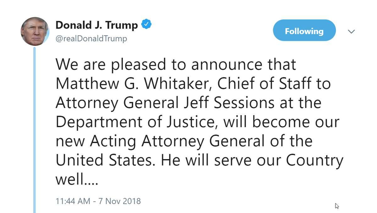President Donald Trump announces the resignation of Attorney General Jeff Sessions on Wednesday, Nov. 7, 2018.