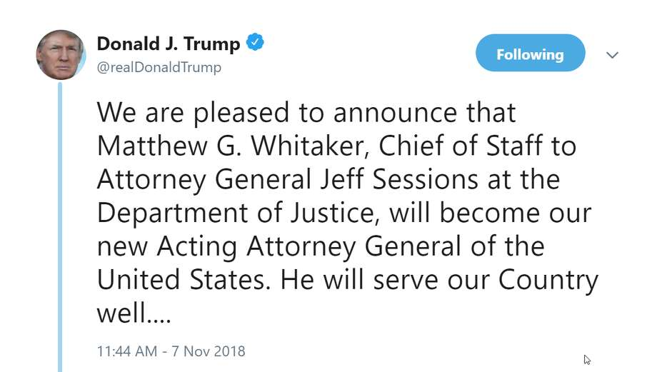 President Donald Trump announces the resignation of Attorney General Jeff Sessions on Wednesday, Nov. 7, 2018. Photo: President Donald J. Trump
