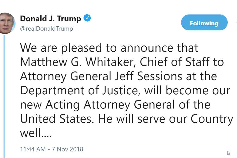 president donald trump announces the resignation of attorney general jeff sessions on wednesday nov - What Station Is Christmas Music On