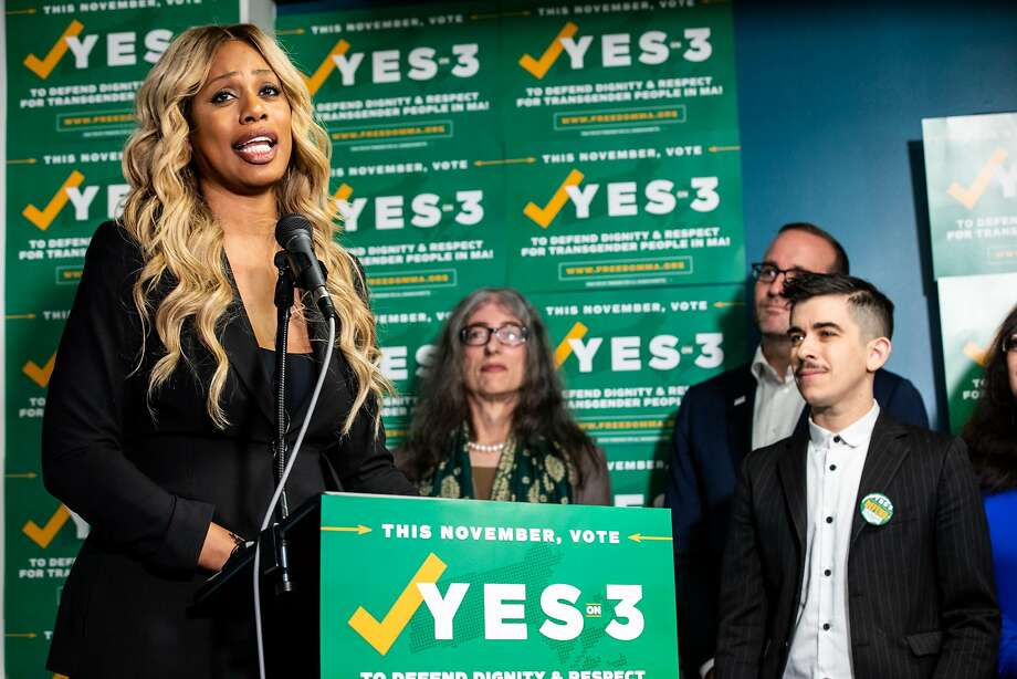 Actress Lavern Cox speaks in favor of first statewide referendum on transgender rights at the Boston Alliance of LGBTQ Youth. The measure received 64 percent of the vote. Photo: Natasha Moustache / Getty Images