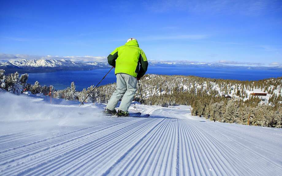 At Heavenly Mountain Resort, Sky Express provides access to intermediate runs that span miles with a Lake Tahoe frontage. Photo: Tom Stienstra / Courtesy Heavenly Mountain