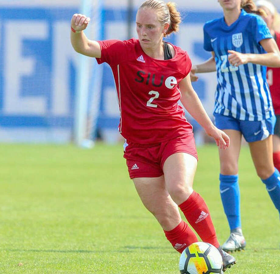 Andrea Frerker of SIUE was one of the Cougars athletes who wore a VXSport technology device to measure performance and ensure the continual development of each player through data-specific training and competition play this soccer season. Photo: SIUE Athletics