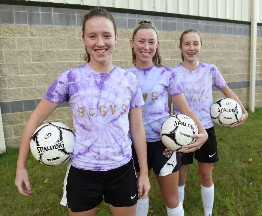 Bethlehem soccer sisters Grace, Katie and Ruth Hotaling at Sportsplex on Wednesday, Nov. 7, 2018 in Halfmoon, N.Y. (Lori Van Buren/Times Union) Photo: Lori Van Buren, Albany Times Union / 20045409A