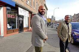 Jahkeen Hoke, left, COO and strategic planning and development for Upstate New York Black Chamber of Commerce, and Anthony Gaddy, the president and CEO of the Upstate New York Black Chamber of Commerce, pose for a photo on Central Ave. on Wednesday, Nov. 7, 2018, in Albany, N.Y. (Paul Buckowski/Times Union)