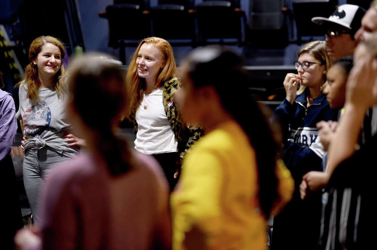Actress Lauren Ambrose, center, prepares to hold a workshop at ACES Educational Center for the Arts' Little Theatre in New Haven Wednesday.